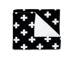 OLLI + LIME - BLACK CROSS BLANKET OLLI + LIME - BLACK CROSS BLANKET, bedding, Olli and lime, littlebelleandbeau- littlebelleandbeau