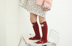 MINI DRESSING Bear Knee High Socks - Red MINI DRESSING Bear Knee High Socks - Red, Accessories, Mini dressing, littlebelleandbeau- littlebelleandbeau
