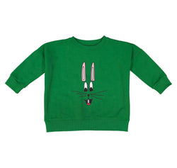 Hugo Loves Tiki - Green bunny Wide Sweat Shirt Hugo Loves Tiki - Green bunny Wide Sweat Shirt, apparel, Hugo loves tiki, littlebelleandbeau- littlebelleandbeau