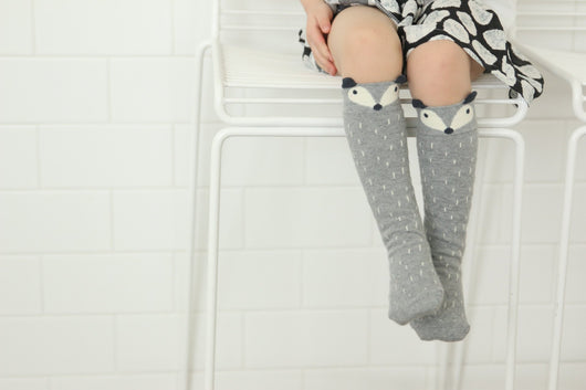 MINI DRESSING Raccoon knee high socks - GREY MINI DRESSING Raccoon knee high socks - GREY, Accessories, Mini dressing, littlebelleandbeau- littlebelleandbeau