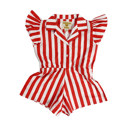 HUGO LOVES TIKI - Red Stripe Ruffled Romper HUGO LOVES TIKI - Red Stripe Ruffled Romper, apparel, Hugo loves tiki, littlebelleandbeau- littlebelleandbeau