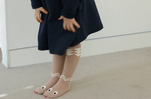 MINI DRESSING Snake Knee High Socks - Beige MINI DRESSING Snake Knee High Socks - Beige, Accessories, Mini dressing, littlebelleandbeau- littlebelleandbeau