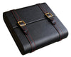 20 Ct Black Leather Traveler w/Gold Buckles & Red Stitching