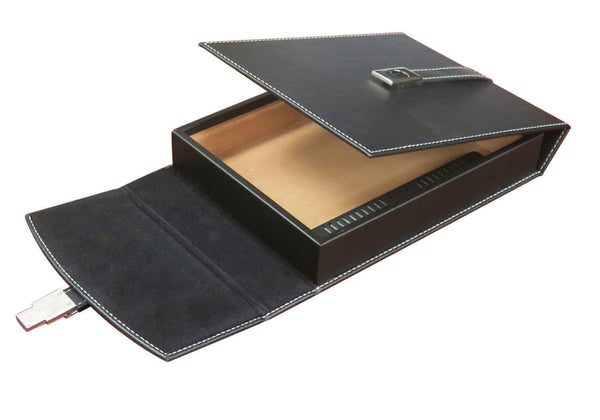 10 Ct Black Leather Travel Humidor w/ Chrome Buckle