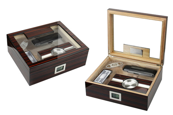 75 Ct. Cherry Ebony Lacquer Gift Set w/ External Digital Hygrometer