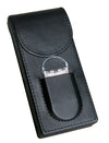 3 Cigar Leather Case w/ Magnetic Closure & Cutter (Black)