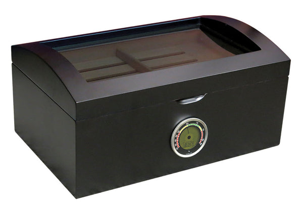 120 Ct. Tinted Glass Humidor w/ External Digital Needle & Numeric Disp.