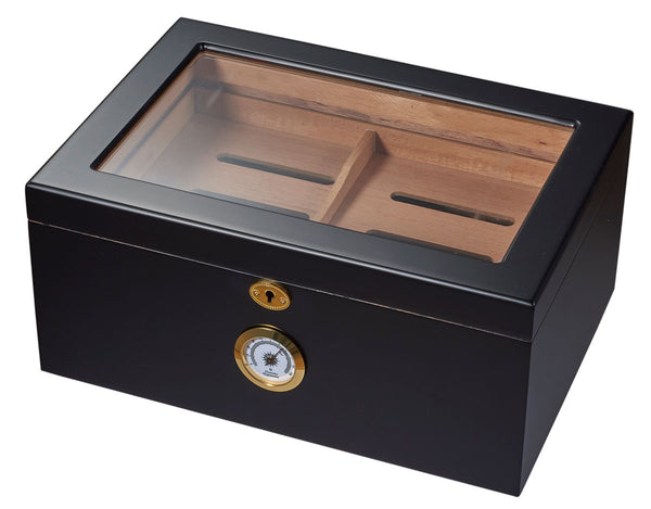 Visol Rainier Glass Top with Black Matte Finish Cigar Humidor