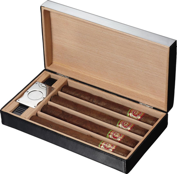 Visol Mapleton Black Leather Cigar Travel Humidor