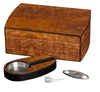 Visol Matte Walnut Cigar Humidor Gift Set w/ Cutter & Ashtray