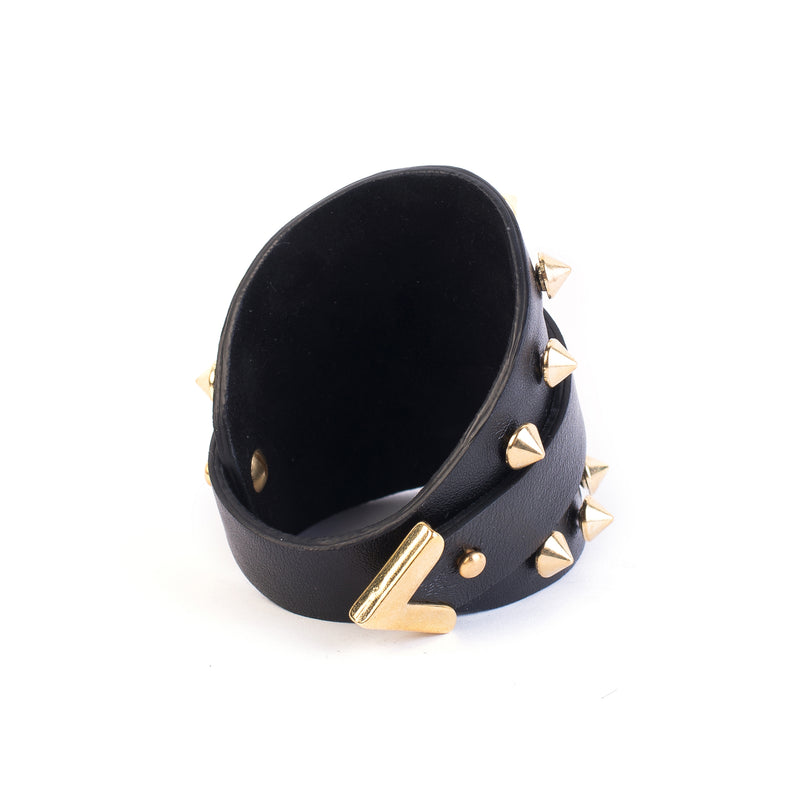 leather bracelet The obsidian gold