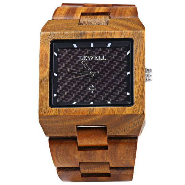 Best New Bewell Men Square-Face Wooden Watch with Calendar Display  KW98
