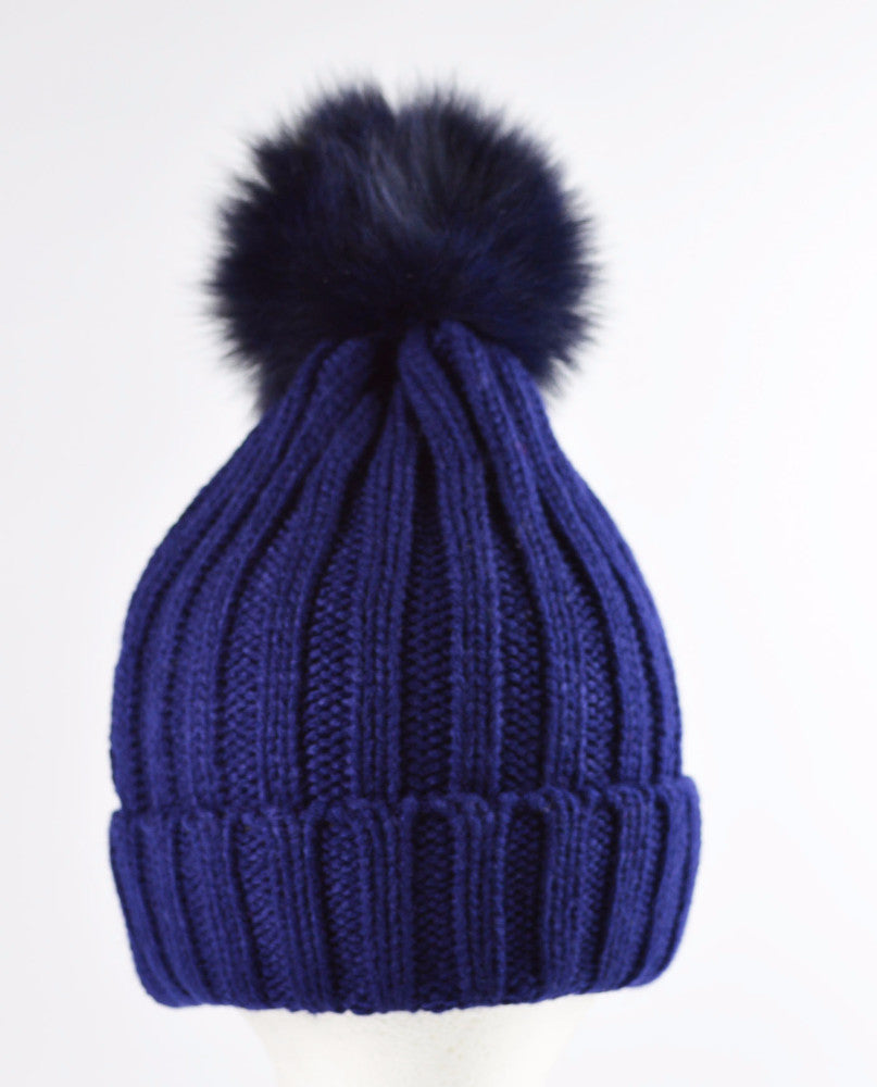 Luxury Knitted Ribbed Faux fur pom pom hat Navy
