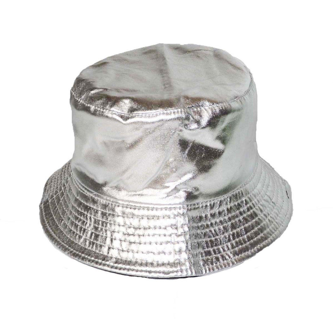 Groovy Vintage style shiny Silver Bucket sun hat