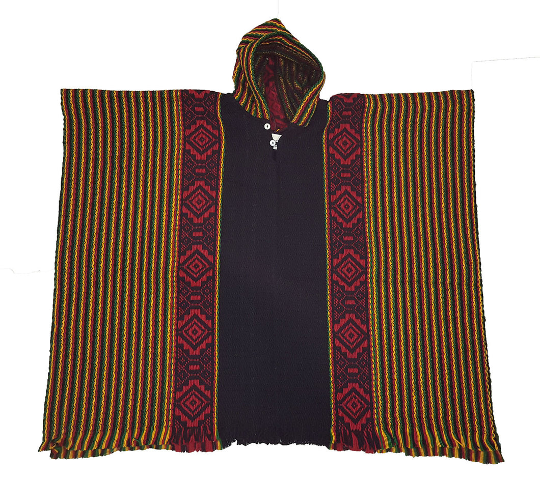 South American hand made wool poncho Rasta Inca
