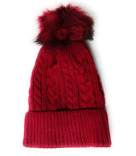 Premium Ribbed fleece lined cable knitted faux fur pom pom hat