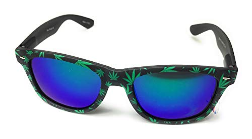 Cannabis print Classic style RUBBER Frame reflective Sunglasses (Blue)