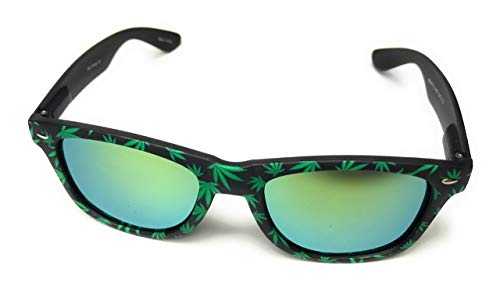 Cannabis print Classic style RUBBER Frame reflective Sunglasses (Mat silver)