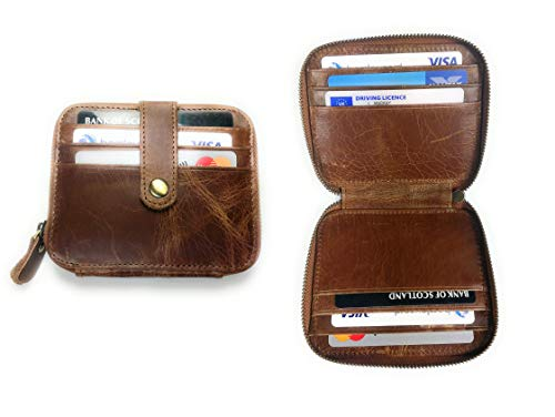 Real Leather ZIP up RFID Blocking Multi Card Compact Wallet - card money wallets