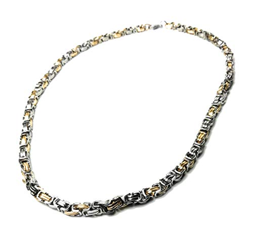 Men's 5 mm Silver gold Cuban Byzantine block bike chain Stainless steel Necklace 22 inch 55 cm
