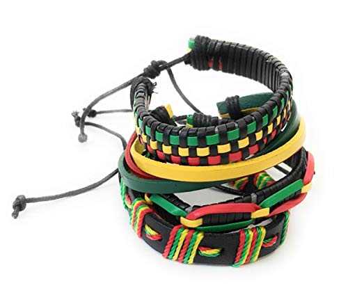 Rasta Bob Marley 4 PIECE Leather woven bracelet band set jewellery Jewelry Festival