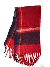 Tartan design Soft Thick Chunky mohair brushed blanket scarf - women's winter scarfs