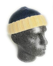 2 tone Knitted fisherman trawler Skully beanie Hat Vintage style winter mens womans Hipster beanie hat