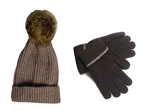 KGM Accessories Wool blended rib knit pattern pom beanie hat with gloves SET