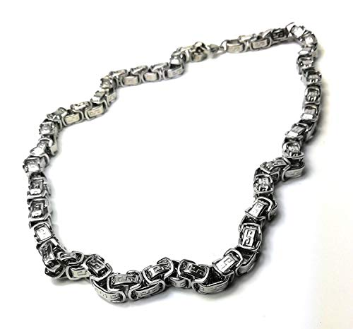 KGM Accessories Men's Silver Byzantine Stainless steel Necklace 22 inch 55 cm
