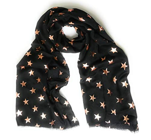 KGM Accessories Viscose STAR foil print scarf - designer Scarves for women