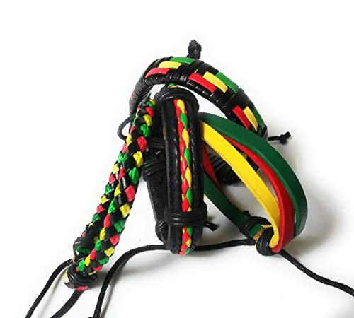 Wigwam 4 Piece Rasta Bob Marley Leather cloth woven bracelet band set jewellery Jewelry Festival