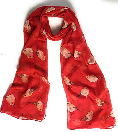 Cute Robin red Breast Bird Print Scarf - Ladies Women's Scarves Gifts