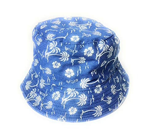 Cool Hawaiian Palm tree print Denim bucket style sun hat
