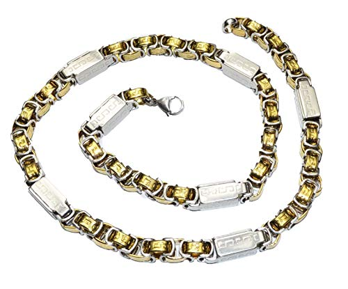 Men's chunky Silver gold Byzantine Stainless steel Necklace bracelet set