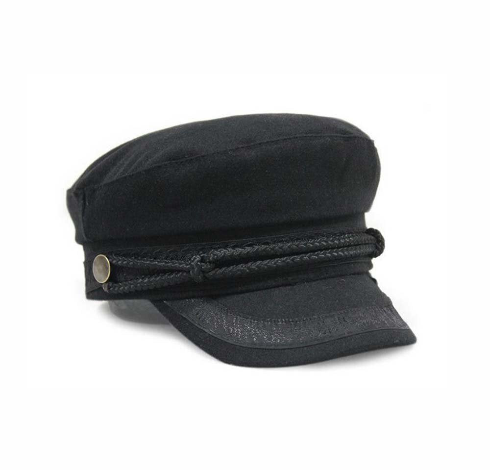 Greek fisherman style military captains style fashion cap Black