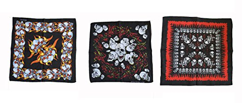 3 Piece pack HEAVY METAL  skull design bandanna set