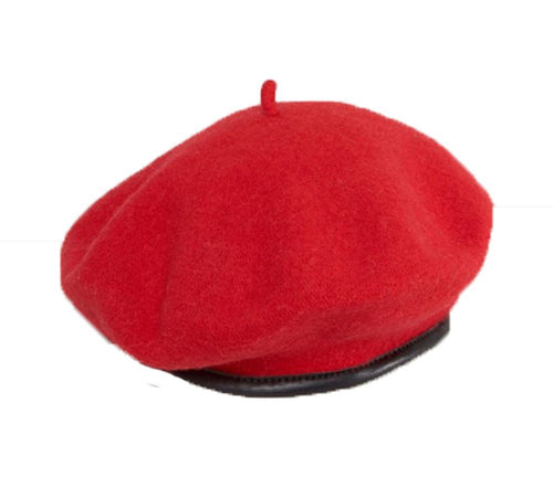 New High quality  100% wool felt fashion beret with Faux leather trim