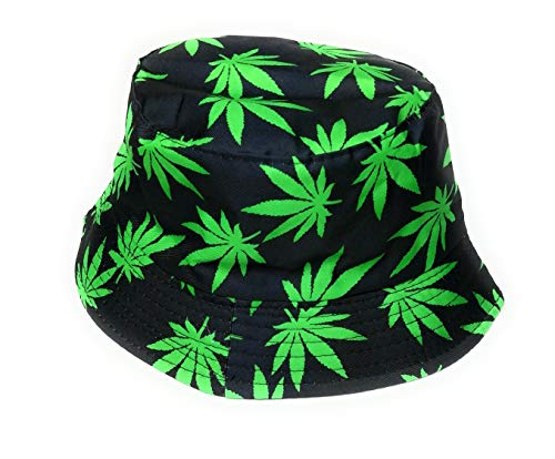 nice nice Multi color Ganja print bucket style sun hat Green