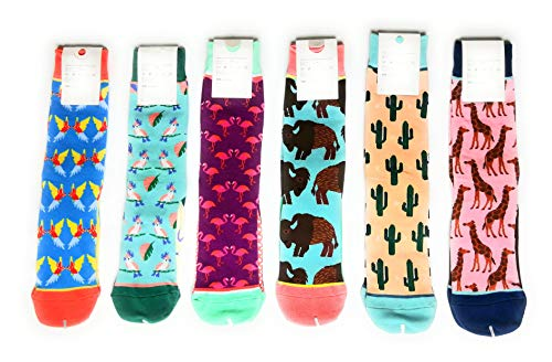 6 Pair Multi-Pack Animal Bird Flower Design Knitted Cotton Socks - Girls Ladies Socks Gifts