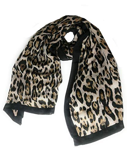 large super soft Leopard print BLACK stripe scarf   -  ladies women's scarves shawls- Gifts