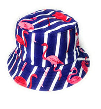 Wigwam Reversible Designer STRIPE FLAMINGO print Bucket hat - holiday festival sun hats