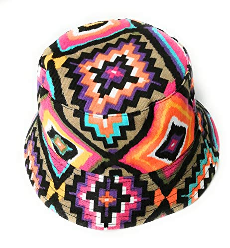 Colorful reversible Native American NAVAJO print bucket style sun hat