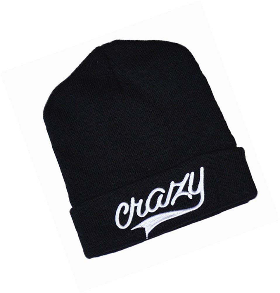 New High quality CRAZY Embroidered Beanie hat Black