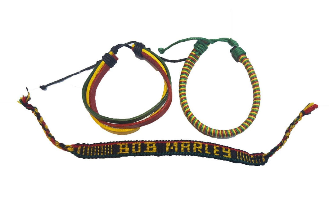 Wigwam 3 Piece Rasta Bob Marley Leather cloth woven bracelet band set