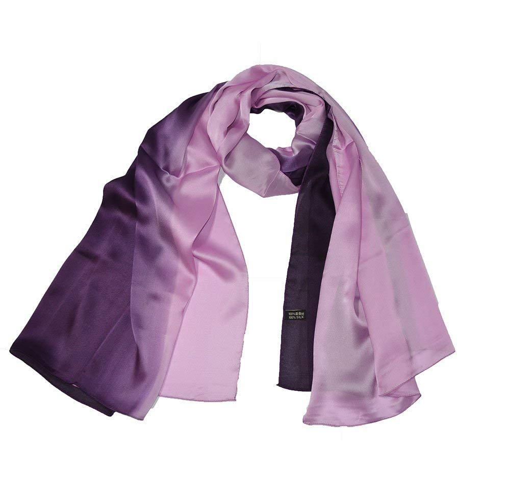 Luxury High Quality Real Silk space dye colour scarf Purple