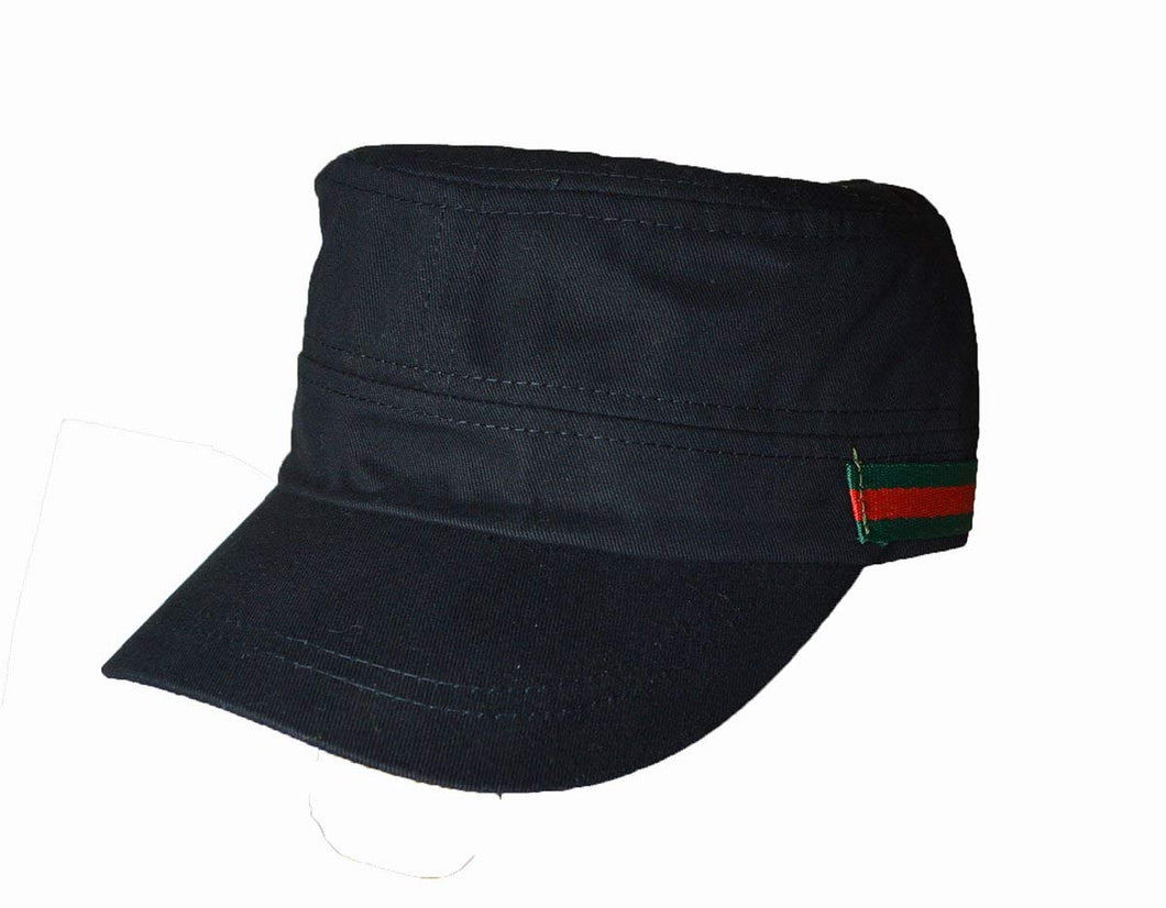 Nice Military cadet cap side stripe logo Black
