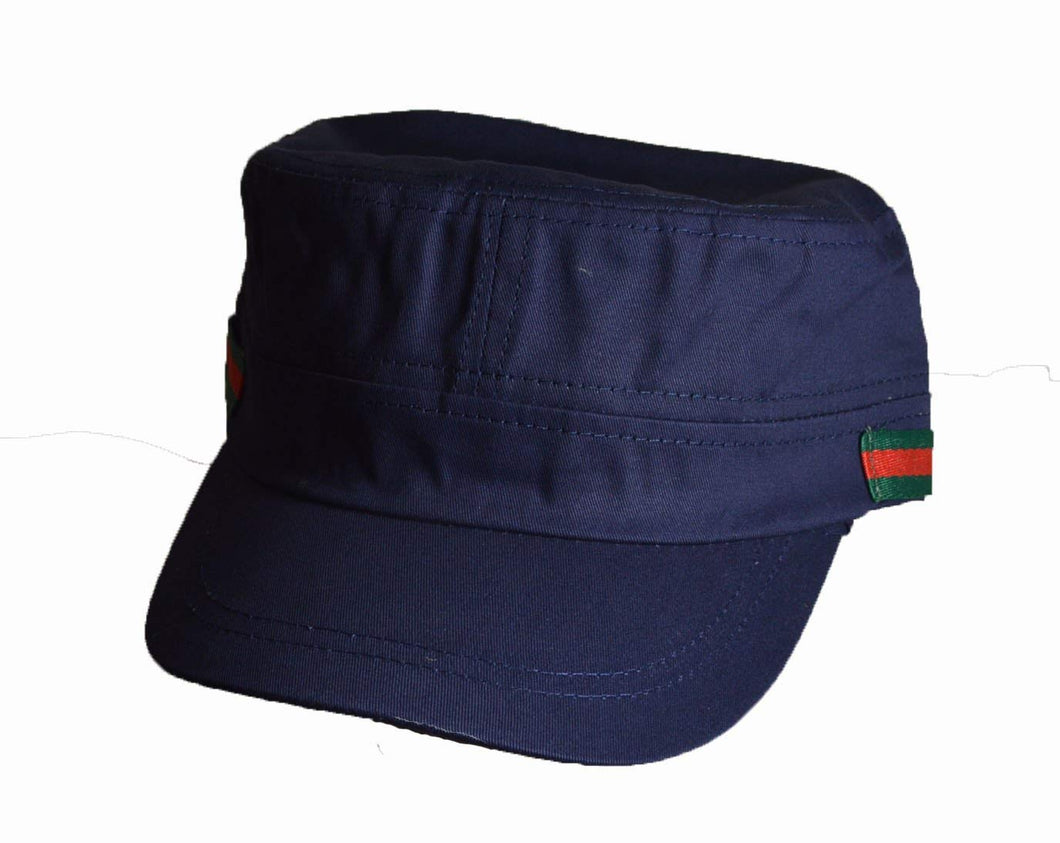 Nice Military cadet cap side stripe logo Navy