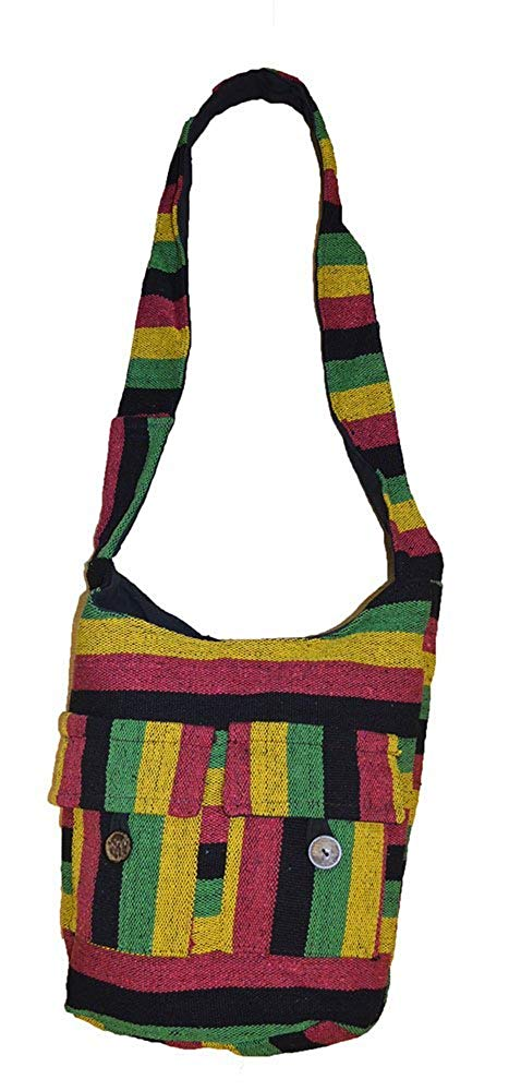 Cool Rasta Bob Marley Style stripe Cotton hand Made Pocket shoulder bag