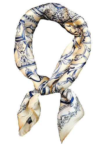 KGM accessories Luxury Satin Regency print Neck scarf neckerchief Cream