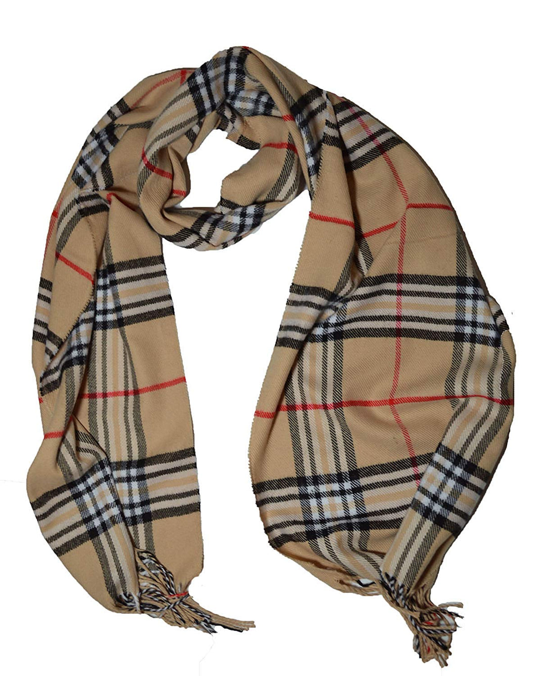 Super Soft Check Cashmere Plaid Scarf Beige